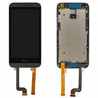 Дисплей (экран) для HTC Desire 601, Desire 601 Dual SIM + с сенсором (тачскрином) и рамкой черный Оригинал