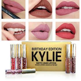 Матовая жидкая помада Matte Liquid Lipstick Kylie Birthday Edition набор 6 цветов реплика
