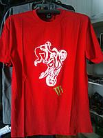 Футболка с мотоциклом 100% хлопок красная