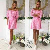 Женское стильное платье цвета розовый, сирень, джинс ОЦХ 179