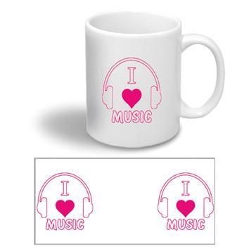 """Керамическая чашка с надписью """"I love music"""""""