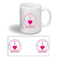 """Керамічна чашка з написом """"I love music"""""""