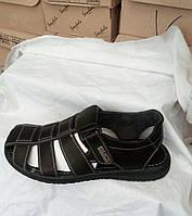 Мужские туфли босоножки летние с натуральной кожи черные