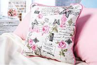 Подушка декоративная Переписка розовый, сиреневый 43*43