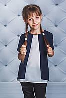 Блузка короткий рукав для девочки темно-синяя