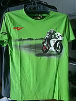 Футболка с мотоциклом Yamaha R1 100% хлопок зеленая