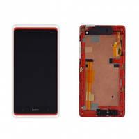 Дисплей (экран) для HTC Desire 600 Dual Sim, Desire 606w + с сенсором (тачскрином) и рамкой крысный