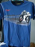 Футболка с мотоциклом Yamaha R1 100% хлопок синяя