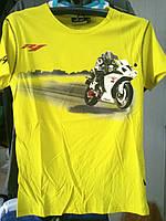 Футболка с мотоциклом Yamaha R1 100% хлопок желтая