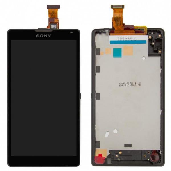 Дисплей (экран) для Sony C6506 Xperia ZL + с сенсором (тачскрином) и рамкой черный Оригинал
