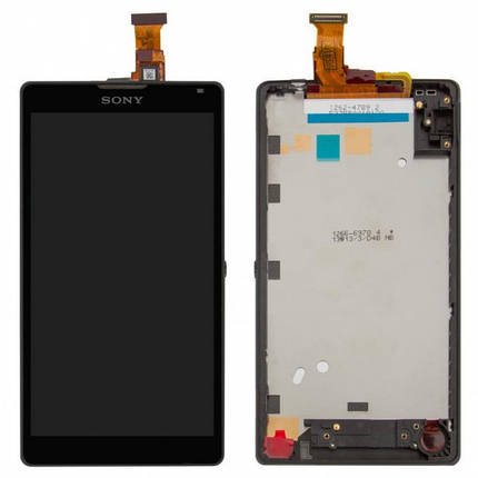 Дисплей (экран) для Sony C6506 Xperia ZL + с сенсором (тачскрином) и рамкой черный Оригинал, фото 2