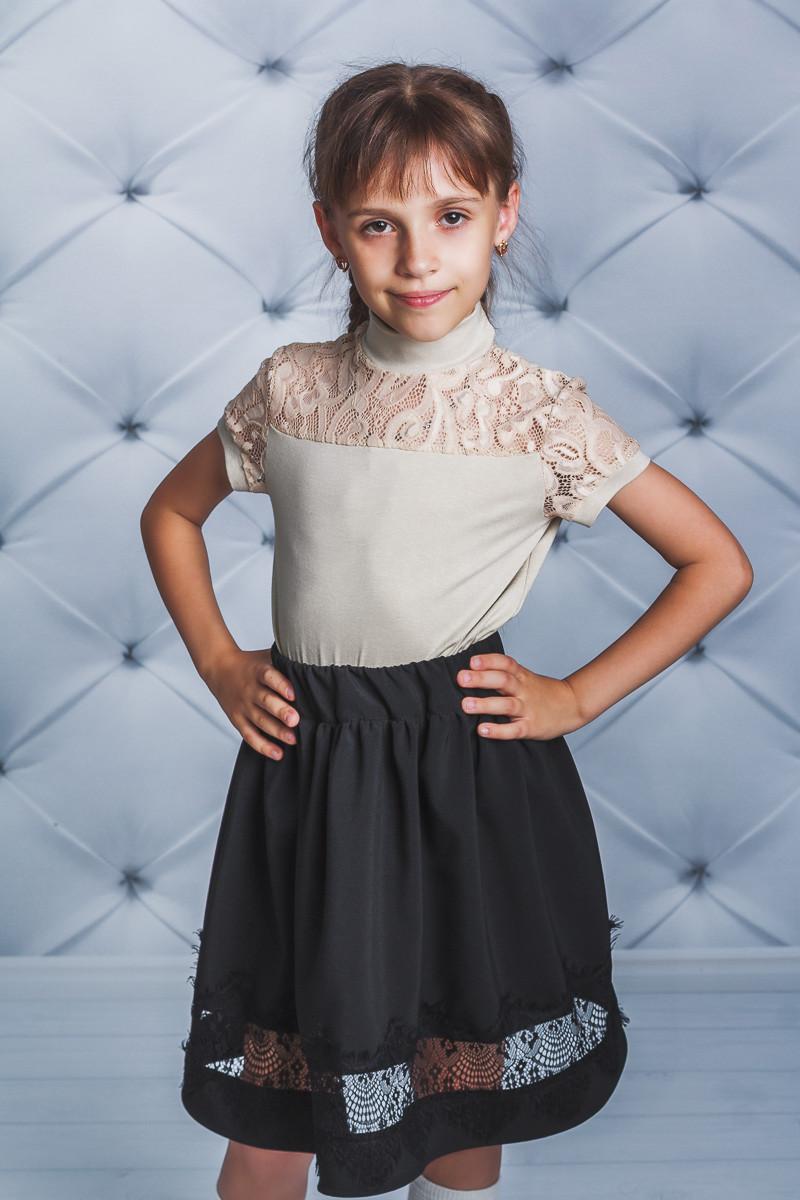 Блуза трикотажная школьная для девочки беж