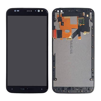 Дисплей (экран) для Motorola XT1575 Moto X Style + с сенсором (тачскрином) и рамкой черный, фото 2