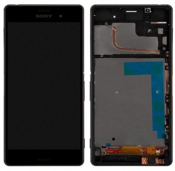 Дисплей (экран) для Sony D6653 Xperia Z3 с сенсором (тачскрином) и рамкой черный Оригинал