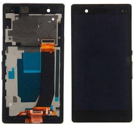 Дисплей (экран) для Sony C6606 Xperia Z L36a с сенсором (тачскрином) и рамкой черный Оригинал, фото 2