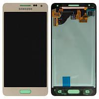 Дисплей (экран) для Samsung G850F Galaxy Alpha + с сенсором (тачскрином) золотистый Оригинал