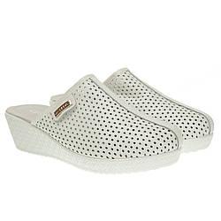 Сабо женские Lifexpert (белые, с перфорацией, с закрытым носком)