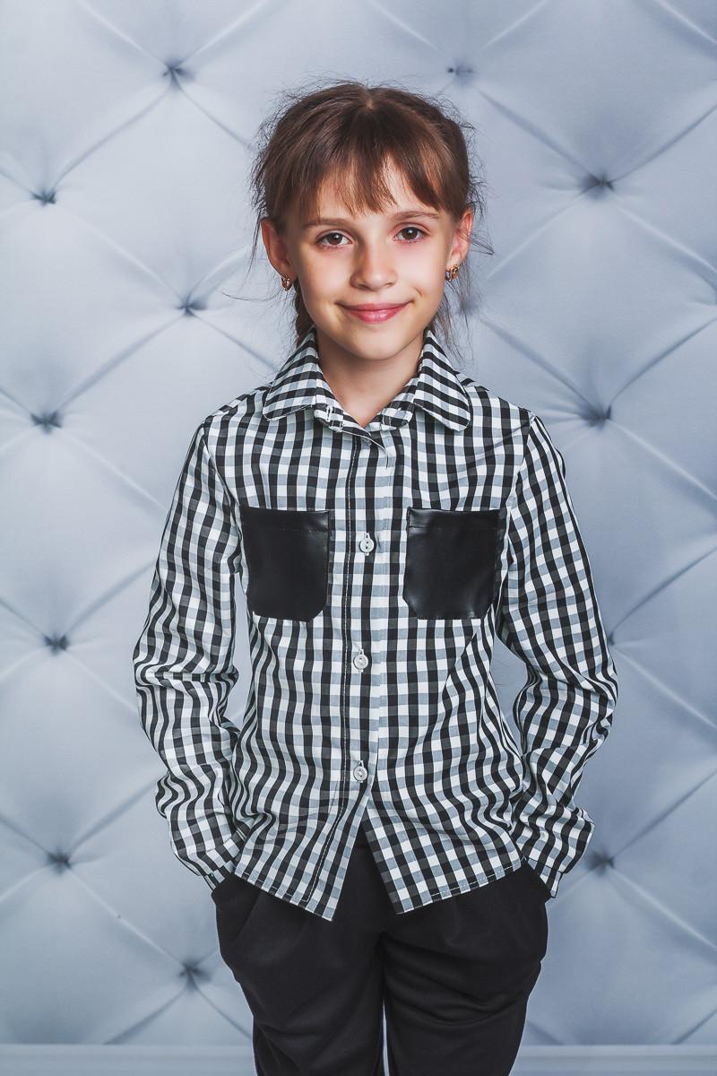 Рубашка для девочки в клетку черная