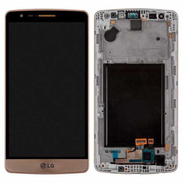 Дисплей (экран) для LG D724 G3s Dual Sim з сенсором (тачскріном) и рамкой золотистый Оригинал
