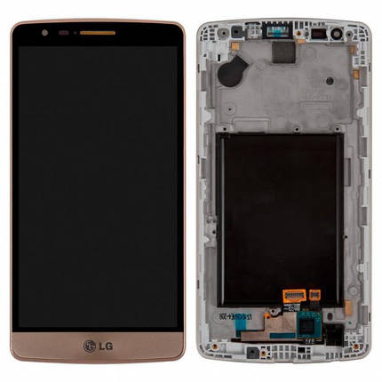 Дисплей (экран) для LG D724 G3s Dual Sim з сенсором (тачскріном) и рамкой золотистый Оригинал, фото 2