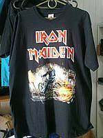Футболка Iron Maiden с мотоциклом 100% хлопок черная