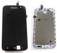 Дисплей (экран) для Lenovo A859 + с сенсором (тачскрином) и рамкой серый
