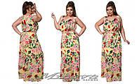 Шифоновое платье-сарафан цветочного принта батал
