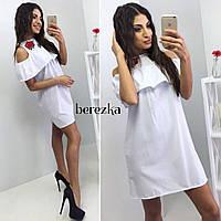 Модное женское короткое белое платье с вышивкой