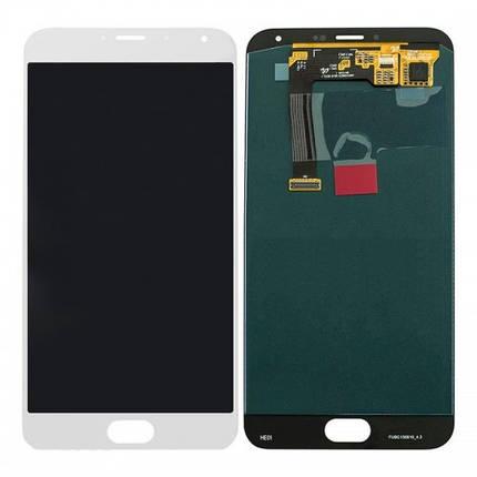 Дисплей (экран) для Meizu MX5 (M575) с сенсором (тачскрином) белый Оригинал, фото 2