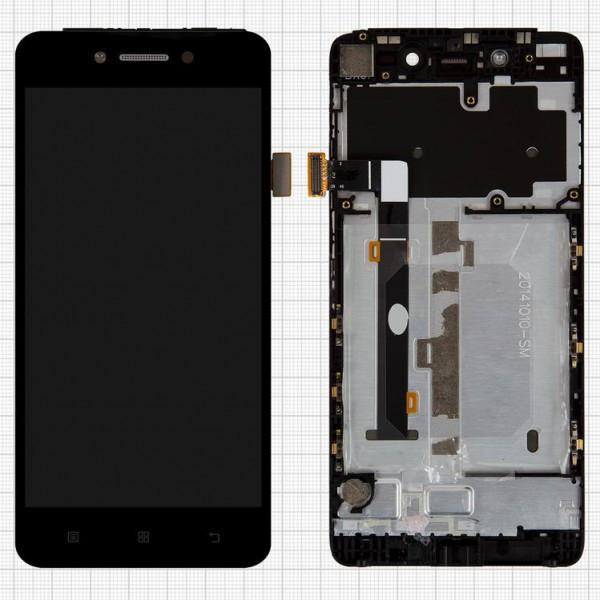 Дисплей (экран) для Lenovo S90 Sisley с сенсором (тачскрином) и рамкой черный Оригинал