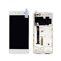 Дисплей (экран) для Lenovo S90 + с сенсором (тачскрином) и рамкой белый Оригинал
