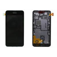 Дисплей (экран) для Nokia 530 Lumia + с сенсором (тачскрином) и рамкой черный Оригинал