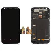 Дисплей (экран) для Nokia 620 Lumia + с сенсором (тачскрином) и рамкой черный Оригинал