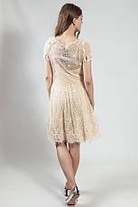 Женское платье летнее ажурное нарядное  вечернее бежевое Massimo Dutti, фото 3