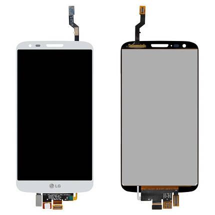 Дисплей (экран) для LG D802 G2 с сенсором (тачскрином) белый, фото 2