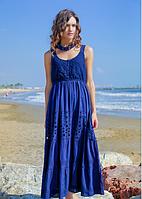Летнее синее платье сарафан с кружевом