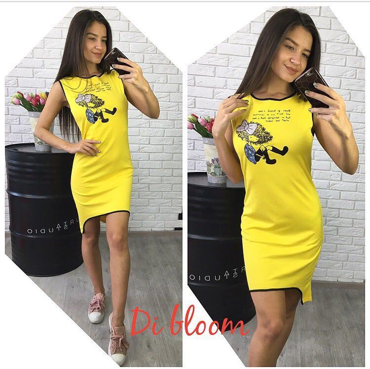 1b5fafdaf12 Платье-майка модное облегающее мини с рисунком трикотаж 4 цвета SMslip1540