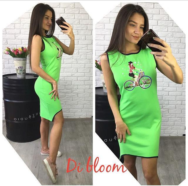 6ea0658dfaf Платье-майка модное облегающее мини с рисунком трикотаж 4 цвета ...