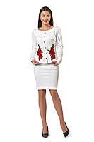 Белый женский костюм с вышивкой XL