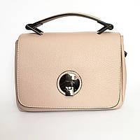 Шикарная кожаная сумка, Италия, пудра, фото 1