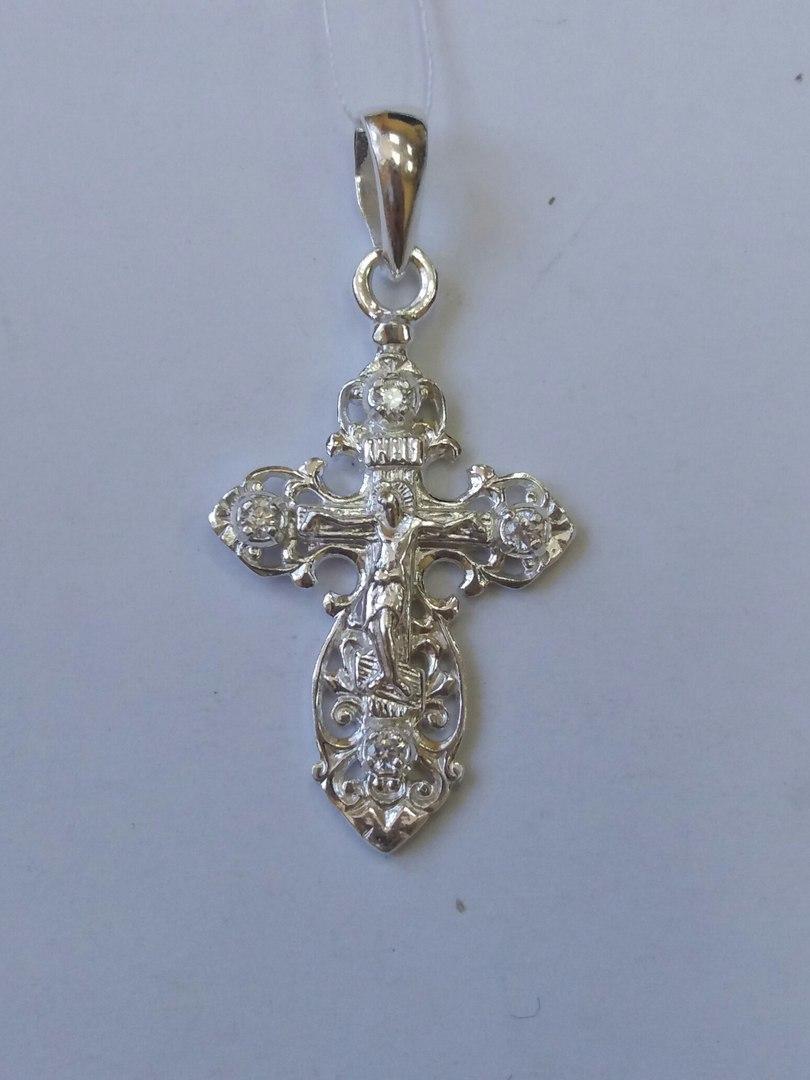 Ажурный серебряный крест с распятием