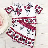 Летние костюмы с цветочным ярким принтом (топ+шорты)