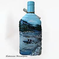 """Декор бутылки в подарок мужчине """"Рафтинг"""" Подарок любителю экстримального вида отдыха, фото 1"""