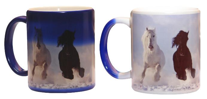 Чашка с Вашим дизайном керамическая глянцевая со сменой цвета ( Хамелеон) Темно-синий