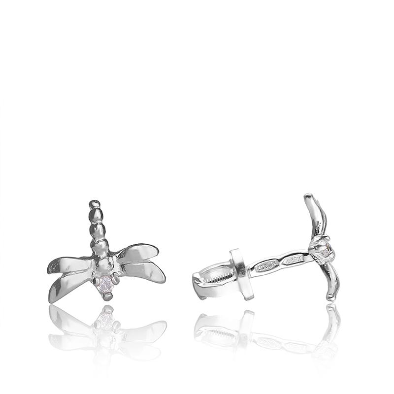 Серебряные серьги гвоздики Стрекоза