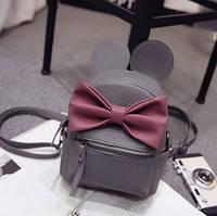 Рюкзак сумка Mikki женский кожзам серый с Ушками
