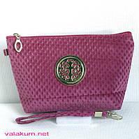 Стильная дамская велюровая косметичка с ремешком на запястье.CR-77 розовая.