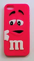 Чехол на Айфон 5/5s/SE M&Ms приятный Силикон Малиновый, фото 1
