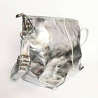 Сумка из натуральной кожи, Италия, серебро, фото 1