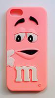 Чехол на Айфон 5/5s/SE M&Ms приятный Силикон Розовый, фото 1